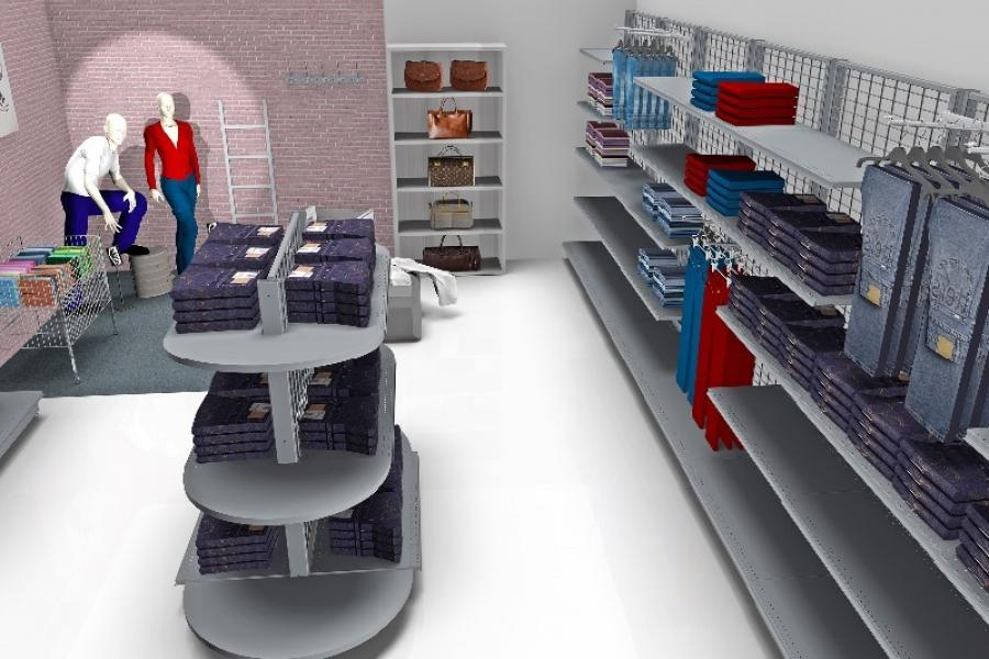 Plan 3D magasin gondole
