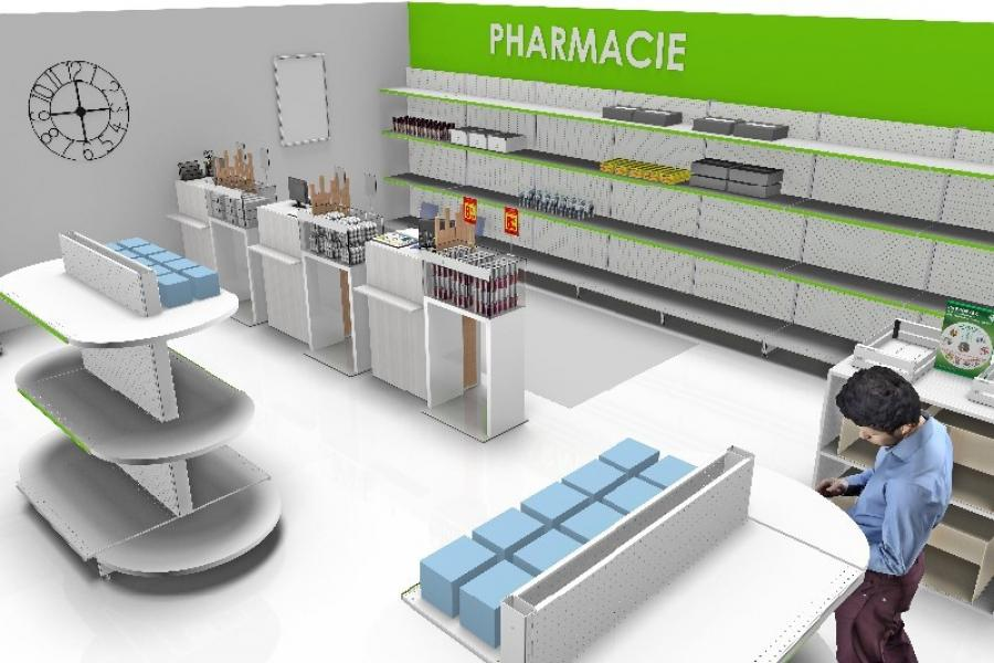 Plan 3D amenagement pharmacie